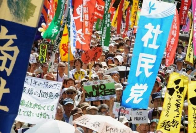 Japoneses fazem manifestação contra energia nuclear neste domingo (2) (Foto Rie IshiiAFP)