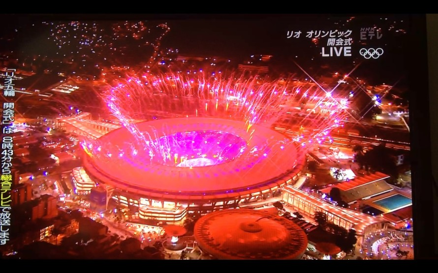 Abertura dos jogos olímpicos no maracanã fogos imagem TV japa